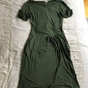 Emerald Green Anthro Midi Dress